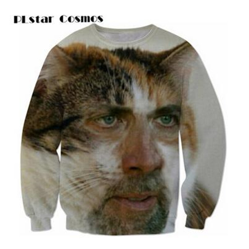 PLstar Cosmos New fashion Sweatshirts 3D Print cat face Nicolas cage Hoodies O-neck Long Sleeves Funny Hip Hop Tops size S-5XL