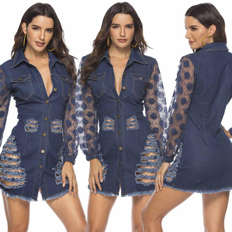 HEE GRAND/Джинсовые куртки XXL Для женщин на осень, джинсовая куртка с длинными рукавами верхняя одежда Однобортный «рваная» куртка платье из джинсовой ткани WWJ961