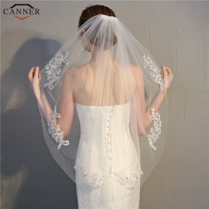 90cm Lace Wedding Veil White Short Bridal Veils with Comb Rhinestone Appliques Flower Women Wedding Accessories Mesh Veils H40