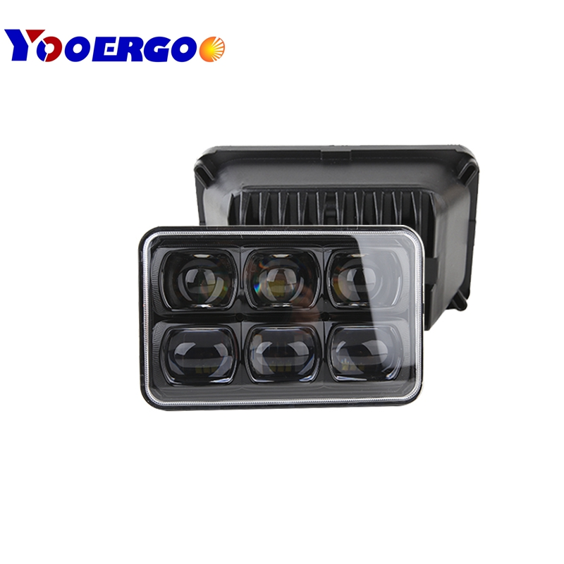 New 9D led Offroad Hi Low Beam 57W Crystal LED Headlight Led Driving Light 4x6 Inch Square Headlamp 4x6 work light co light 4x6 led driving light 44w 24w hi lo beam h4 headlights 6000k 1800lm 2150lm the daytime running lights car styling 4x6