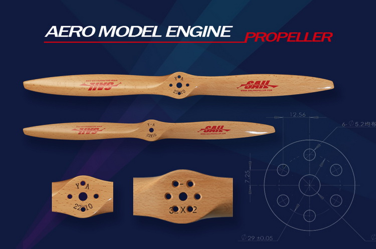 DLE Engine Remote Control Aircraft Specific German Beech Wooden Propeller Paddle (with Mounting Holes)