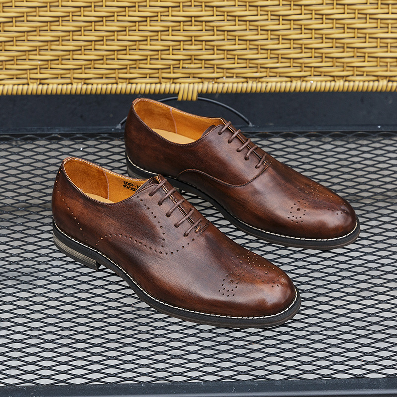 QYFCIOUFU 2019 Vintage Mens Dress Shoes Luxury Brand Genuine Leather Oxford Shoes For Men High Quality Wedding Formal Shoes in Formal Shoes from Shoes