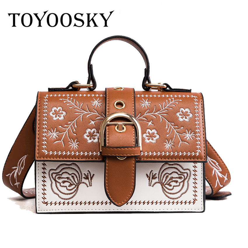 TOYOOSKY 2017 New Women bag Width Strap Embroidery Flower single crossbody shoulder bag female luxury design handbags bags SAC