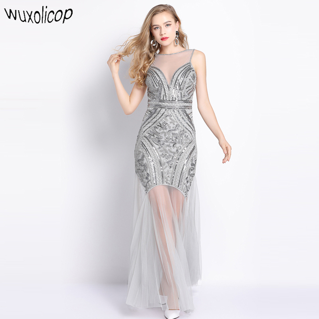 1920s Great Gatsby Fler Dress Sheer Long Maxi Formal Party Women Sleeveless V Back Vestido