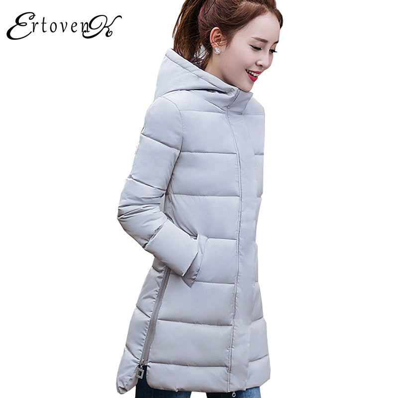 Winter Women Long section Cotton Jacket 2017 New Hooded Feather Padded Large size parkas Solid Color Slim Femmes Outerwear C58 winter women parkas solid color mid long section large size thicken down cotton jackets fashion hooded slim cotton coats ly0254