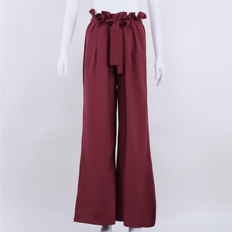 Autumn Casual   Wide     Leg     Pants   Women's   Pants   Fashion Solid Color Belt High Waist   Pants   Palazzo Loose Trousers For Women