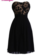 KapokBanyan Real Photo Black Lace Short Prom Dresses 2017 Sexy Sweetheart Appliques Mini Party Dress Chiffon Robe de soiree