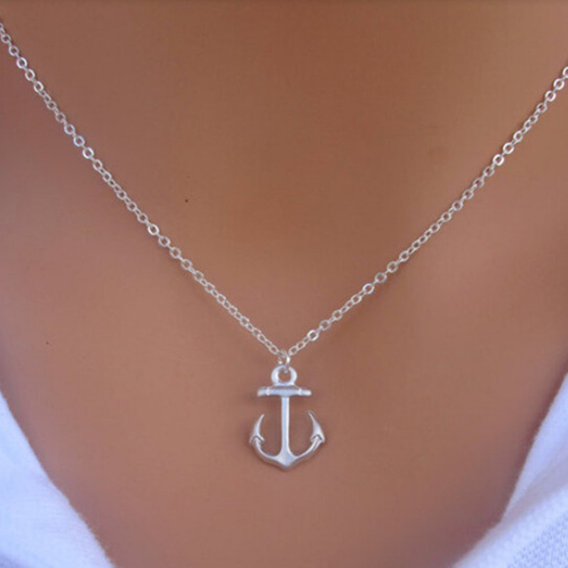 Hot Fashion New Women Simple Design Cute Silver Anchor Pendant Necklace Jewelry P1254