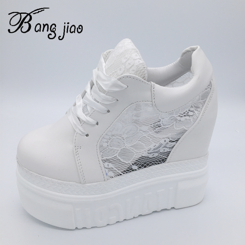 Womens Vulcanize Shoes Sneakers Platform 14cm Wedge Heel Silk Bow White Female Casual Shoes 2019 Spring Summer Lace ShoesWomens Vulcanize Shoes   -