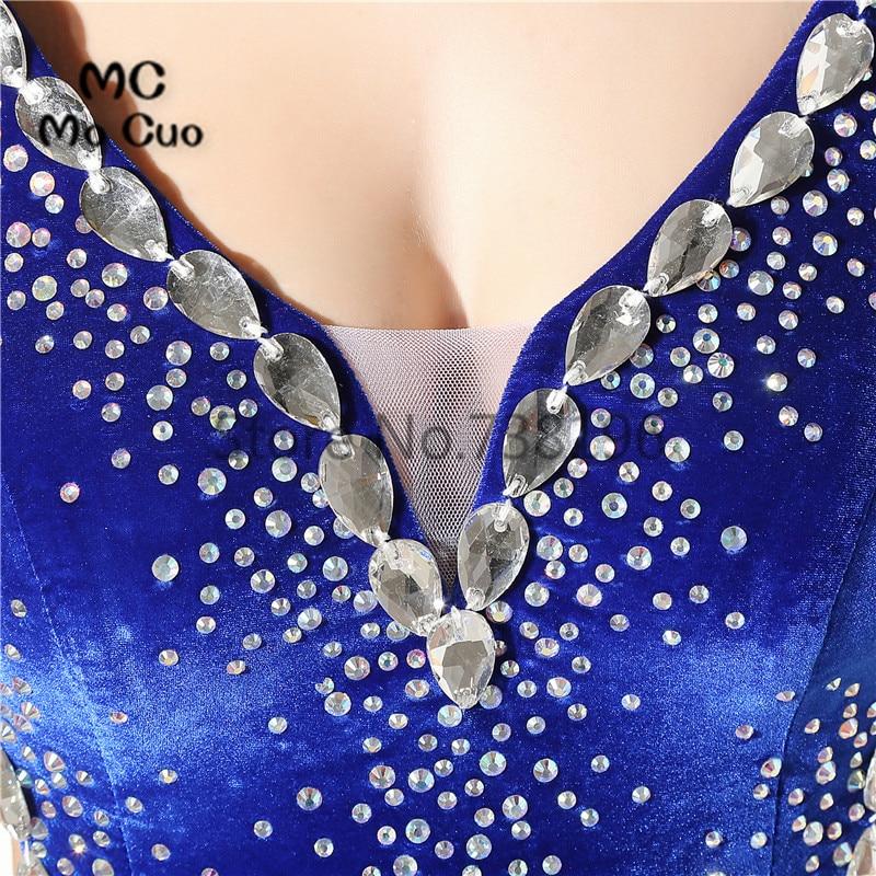 2017 Sexy Royer Blau Nixe abschlussball mit Perlen Vestidos de ...
