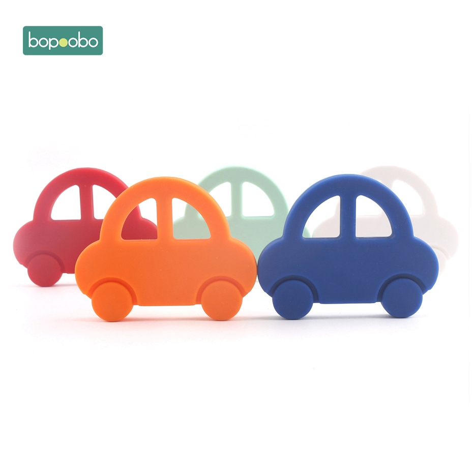 Bopoobo 1pc Silicone Car Teether DIY For Baby Rattle Pacifier Clip BPA Free Silicone Train Teething Pendant Baby Teether
