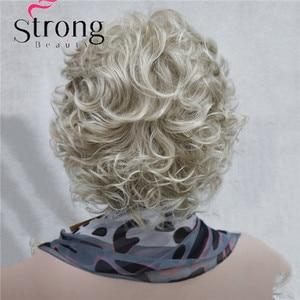 Image 5 - StrongBeauty Korte Zachte Shaggy Gelaagde Blonde Mix Full Synthetische Pruik Krullend vrouwen Pruiken
