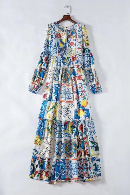 Feminino azul branco sicília porcelana padrões imprimir verão maxi vestido até o chão manga alargamento boêmio vestidos 2019 nova marca - 2