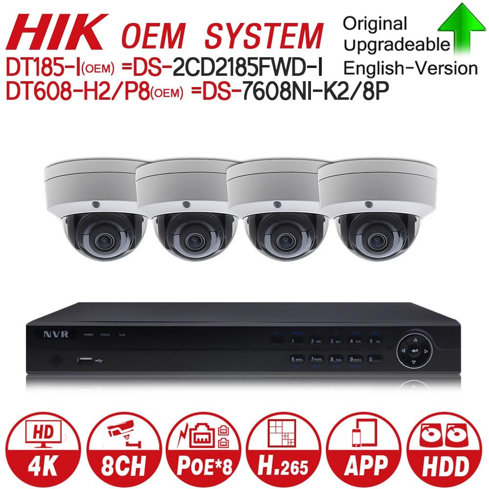 Hikvision OEM 4K 8POE Security CCTV System Kits NVR DT608-H2/P8 = DS-7608NI-K2/8P & 4pcs 8MP IP Camera DT185-I = DS-2CD2185FWD-I 4pcs hikvision ds 2cd2135fwd is h 265 ip camera replace ds 2cd2135f is hikvision nvr ds 7608ni k2 8p 8ch 8 ports poe 4k h 265