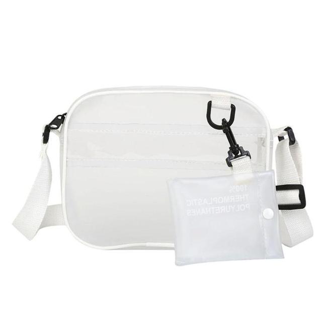 fbb303528ec4 Summer 2 In 1 Bag Women PVC Jelly Transparent Mini Shoulder Bag Girl Zipper  Female White