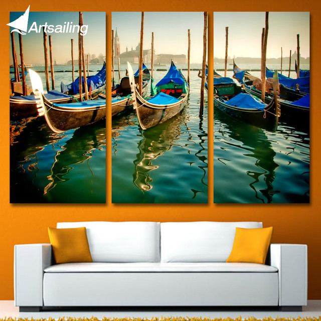 3 Panels Canvas Art Seashore City Gondolas Home Decor Wall Art Painting  Canvas Prints Pictures For