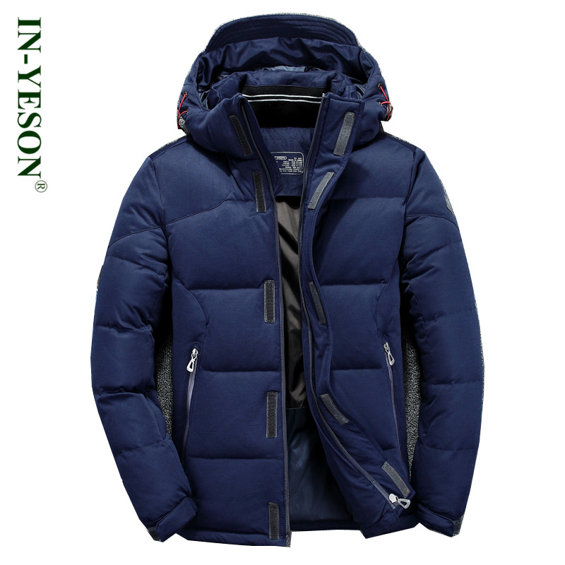 IN-YESON Brand Down Jacket Men Top Quality Windproof Simple Design Hood Mens White Duck Down Coat
