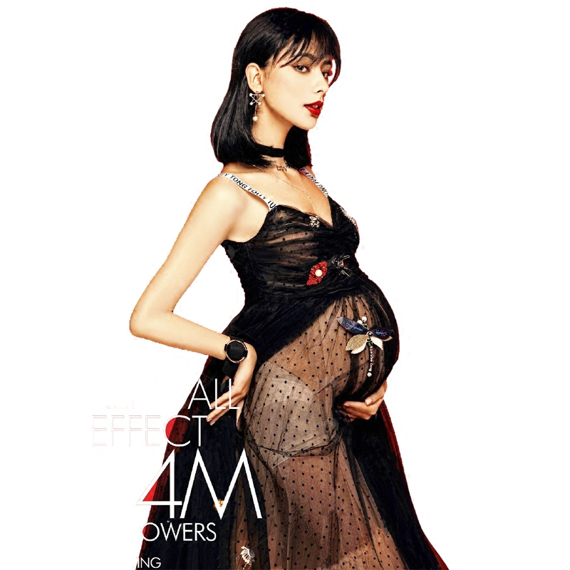 New Maternity Photography Props Pregnant Women Noble Long Elegant Wedding Black Lace Fashion Dress Romantic Photo Shoot Fancy