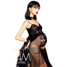 Nuevos apoyos de la fotografía de la maternidad Mujeres embarazadas Noble largo Elegante de la boda Vestido de encaje negro Moda Romántica sesión de fotos de lujo