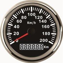 범용 85mm 속도계 주행 속도계 Speedo 게이지 200 km/h 자동차 트럭 모터 자동 빨간색 백라이트 12V 24V (펄스 신호)