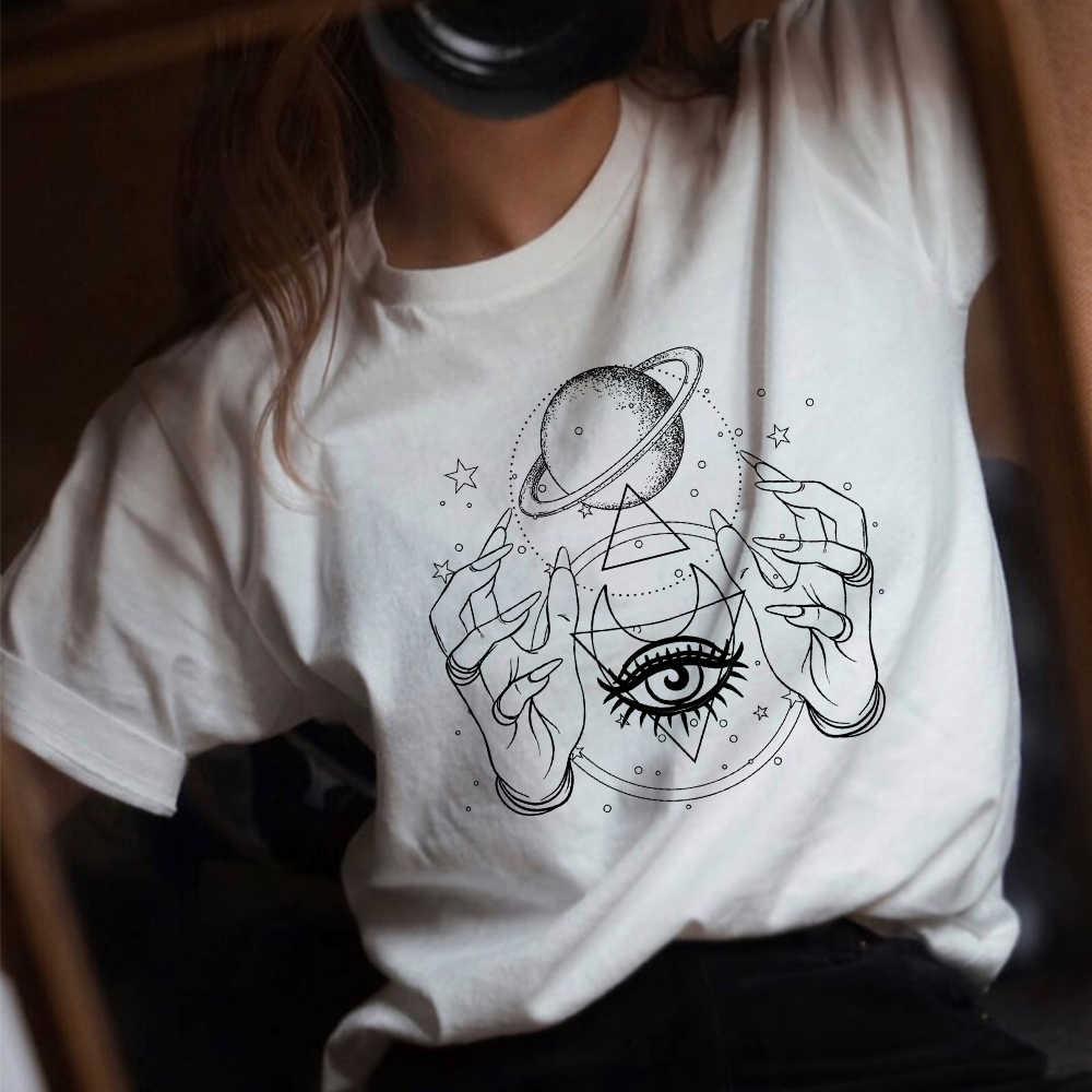 Minimalista Delle Donne T-Shirt Estate Luna di Stampa Harajuku a maniche corte Magliette e Camicette O-Collo Casual della ragazza di Grandi Dimensioni Maglietta di Cotone
