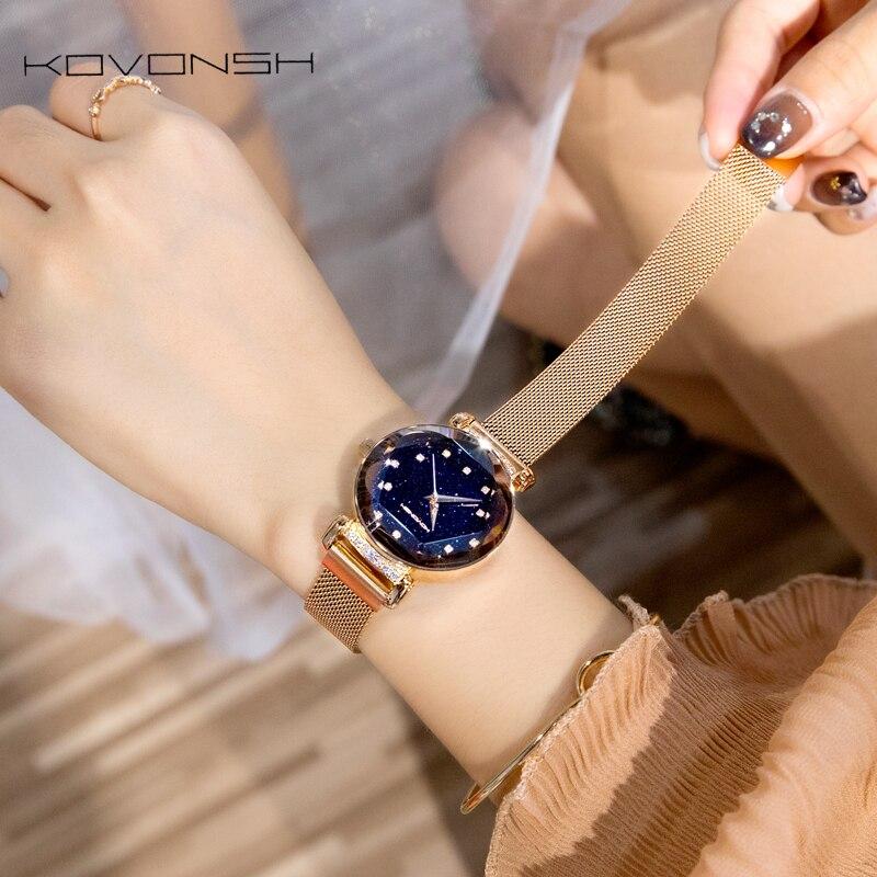 KOVONSH модные женские туфли женские часы пояс сетки магнитный ремешок платье для женщин часы Роскошные повседневные подарки дропшиппинг