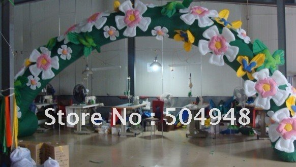 inflatable flower arch for advertising decoration commercial sea inflatable blue water slide with pool and arch for kids