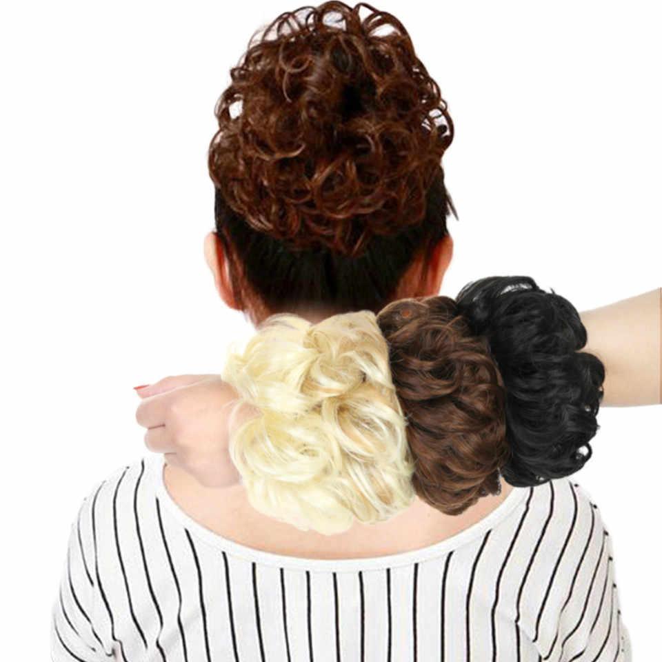 DIFEI кудрявый шиньон термостойкие синтетические волосы эластичные шиньон кудрявый пучок микс серый Блонд натуральный шиньон расширение