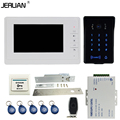JERUAN 7`` LCD video doorphone intercom system Kit New RFID waterproof Touch Key password keypad Camera Electric mortise lock