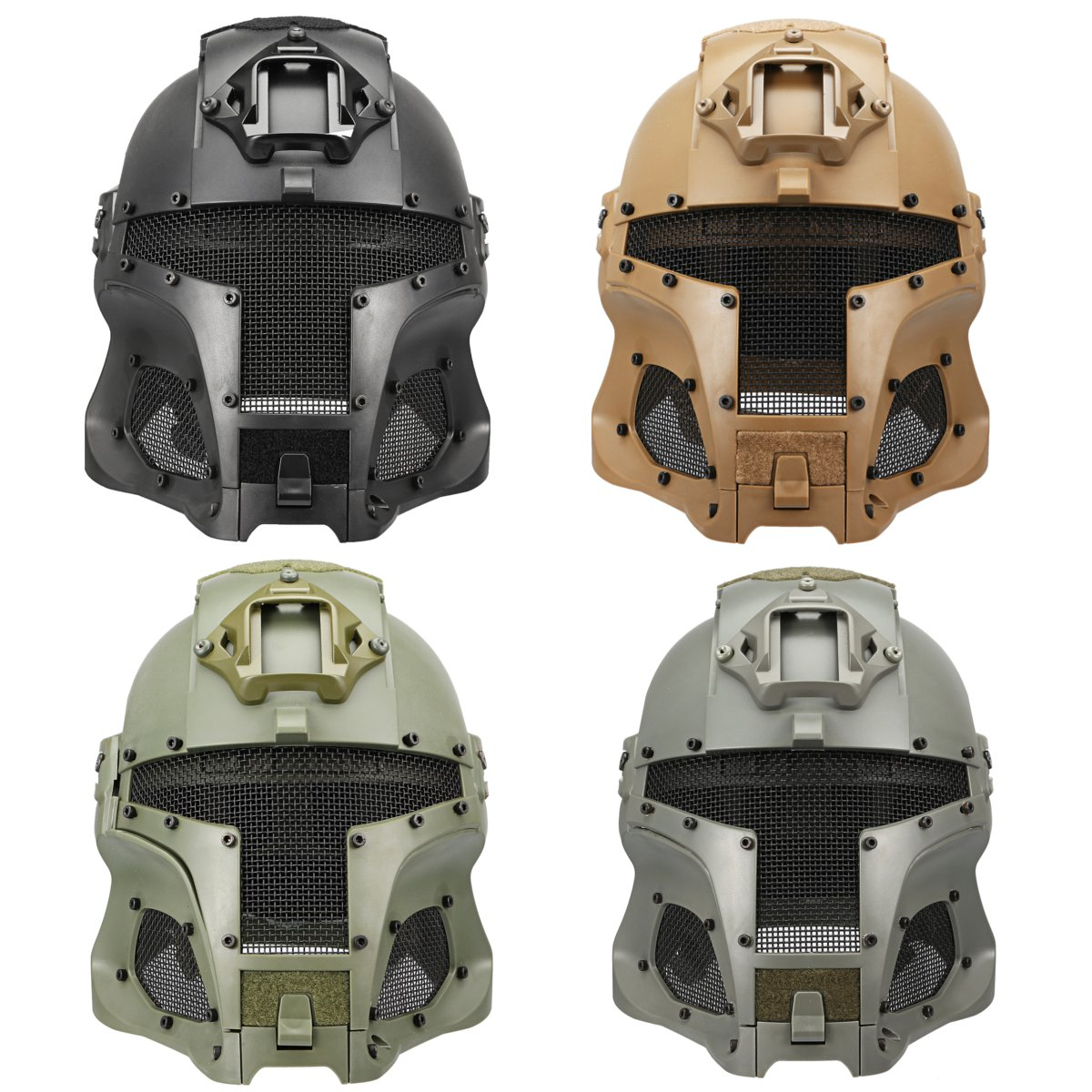 4 couleurs ABS intégré rétro Sport guerrier intégral maille casque bouclier médiéval fer guerrier tactique extérieur rétro moto