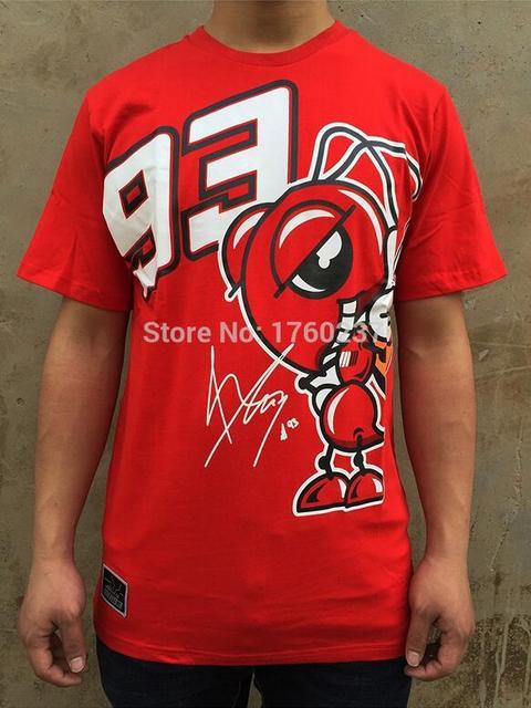 2016 nueva moda de verano moto gp 93 marc márquez camiseta los hombres de La Motocicleta de Manga Corta T-shirt Camisetas Casual red plus size S-XL