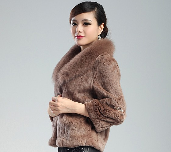 leather real fur coat Rabbit fox coat