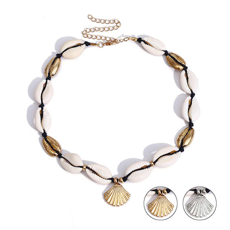 Beach Summer Bohemia Jewelry Women Fashion Gold Silver Color Necklace Choker Shell Hawaiian Adjustable Trendy Sea Shell