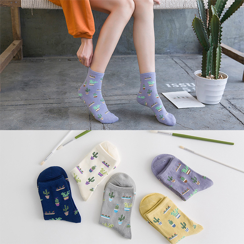 1Pair Fashion Women Plant Cactus Pattern Cacti   Socks   Plant Ball Cactus Harajuku Comfortable Lovely Girl Cotton Scok Dropshipper
