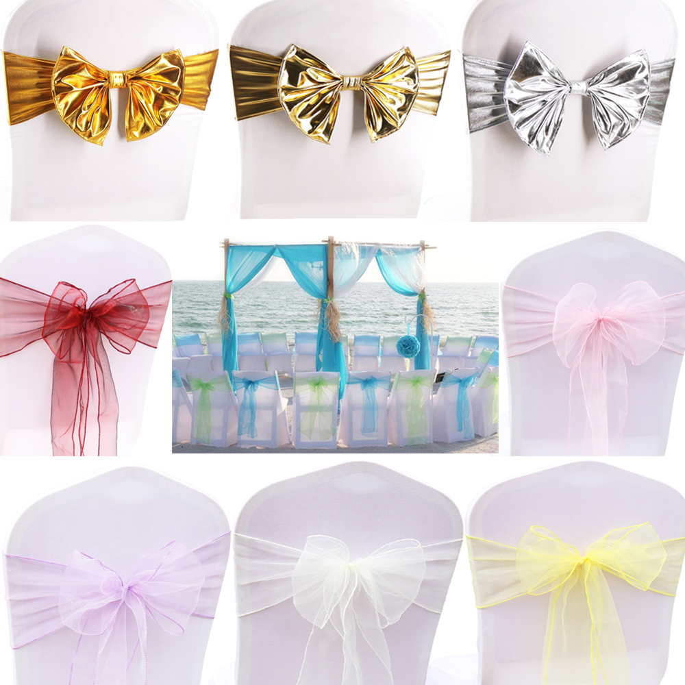 Sashes Factory Price!!! 50pcs Gold Wedding Cap Bow Decoration Banquet Party Bow Chair Sash For Chairs Free Shipping Reliable Performance