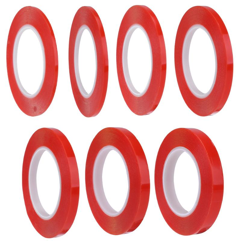 4/5/6/8/10/12/15mm Red Strong Adhesive Tape PET Red Film Clear Double Sided Tape No Trace for Phone LCD Screen Repair 2mm 50m strong acrylic adhesive red film clear double sided tape sticker for mobile phone lcd pannel display screen hot sale