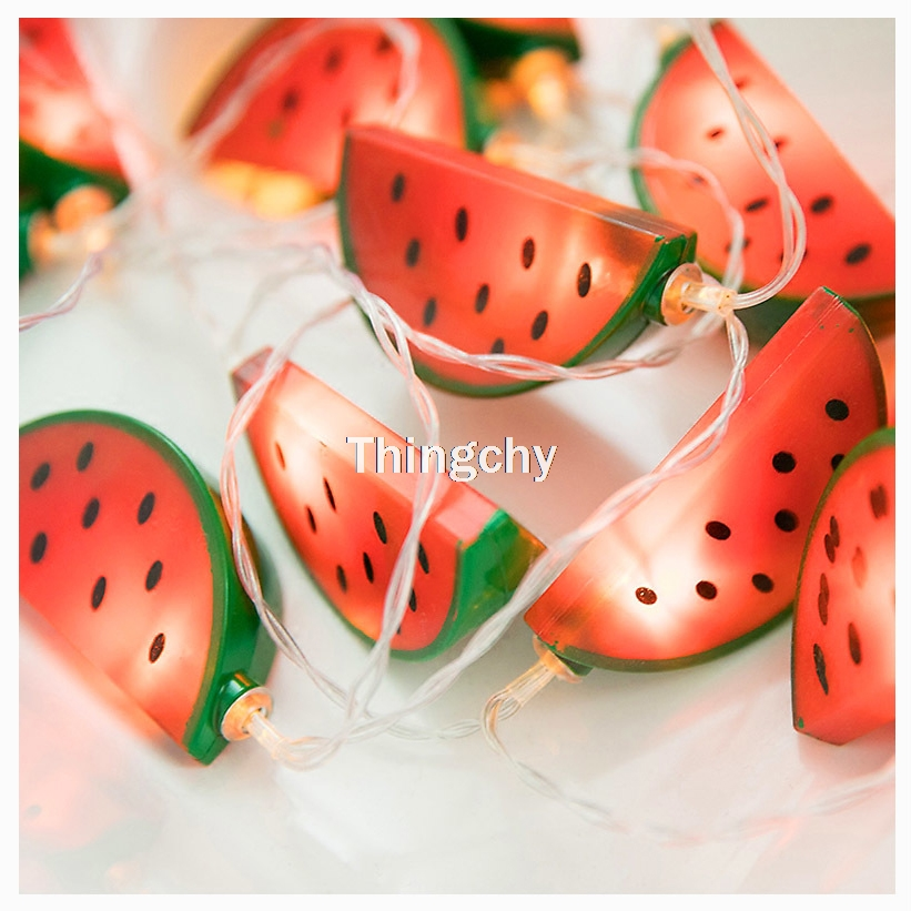 Sunny Life Battery LED Hanging Lights Watermelon String Fairy Light For Christmas Party Patio Bedroom Kid's Room Home Decoration