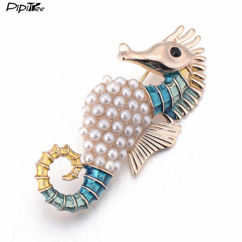 Vintage Fashion Women Brooch Pins Jewelry Safety Pins Enamel Animal Sea Horse Imitation Pearl Brooches For Wedding Party