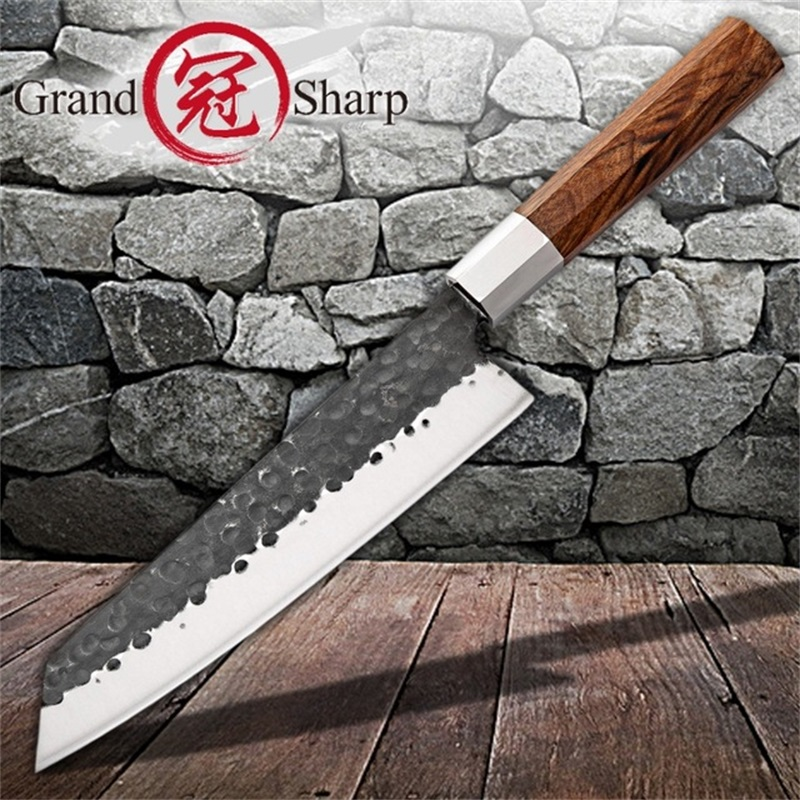 8 Inch Handmade Chef Knife Japanese Kiritsuke Kitchen Knives Stainless Steel Slicing Tools Wood Handle Gift Box Grandsharp-in Kitchen Knives from Home & Garden    1
