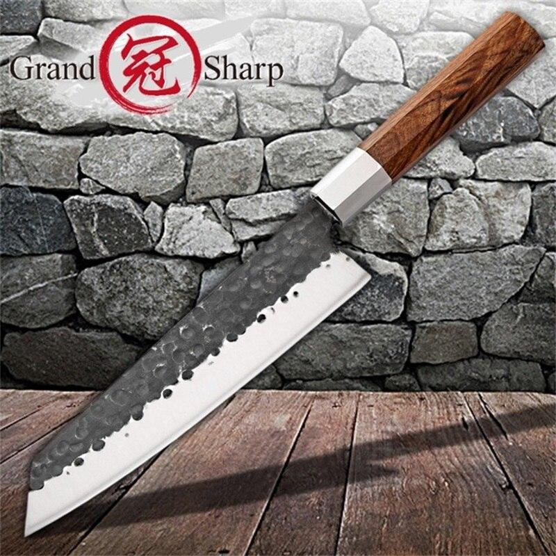 Couteau de Chef fait main 8 pouces couteau de cuisine japonais Kiritsuke outils de tranchage en acier inoxydable manche en bois boîte cadeau Grandsharp