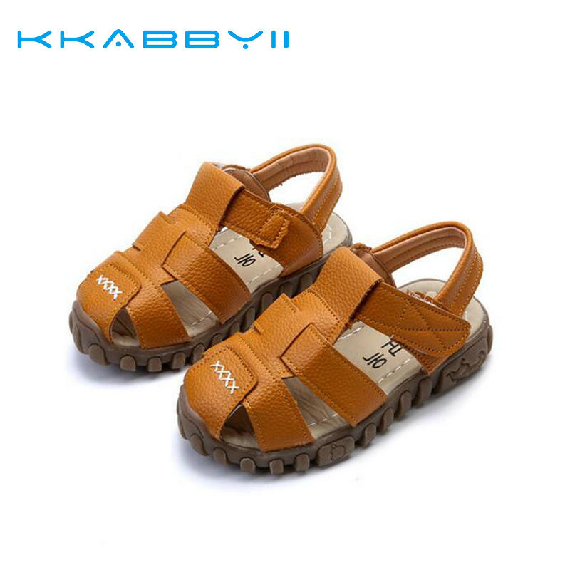 KKABBYII Children Beach Sandals Slip-resistant Suede Kids Shoes Breathable Boys Shoes Boys Sandals 2017 New Summer Leather