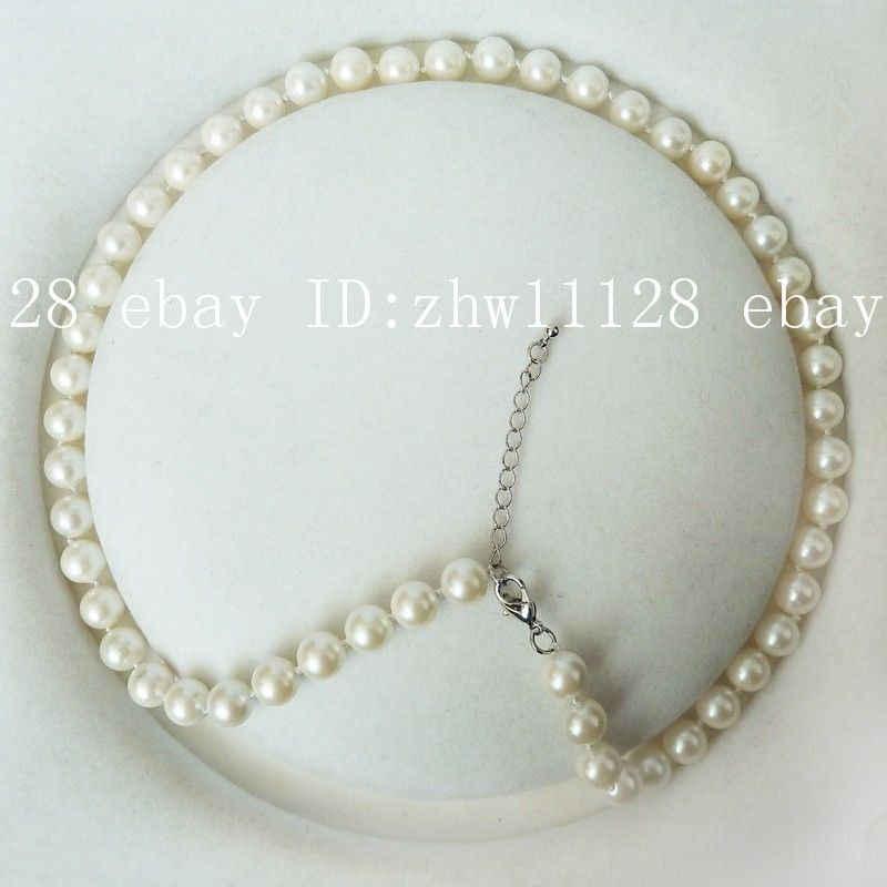 8 mét vòng ngọc trai trắng màu south sea shell trân fashion necklace 18 '' AAA phong cách Fine Noble bất Tự Nhiên miễn phí vận chuyển