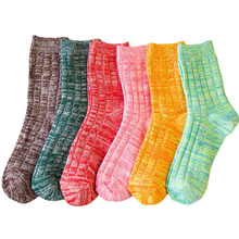Japanese Fashion Candy Color Knitted Socks Cotton Meia Winter Girls Warm Hosiery Women Terry Thermal Christmas Sock Lot 10 Pairs