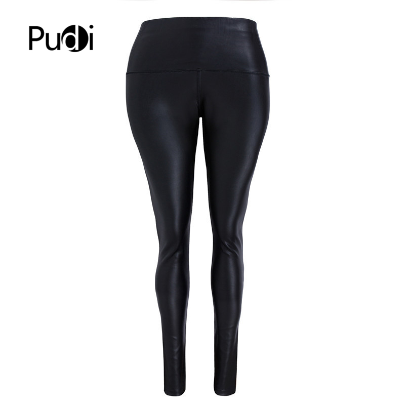 Pudi Women Leather Pants Sexy Ladies Pu Leather Trousers Matte Look  Low Waist Stretch Girl Black Leather Slim Leggings