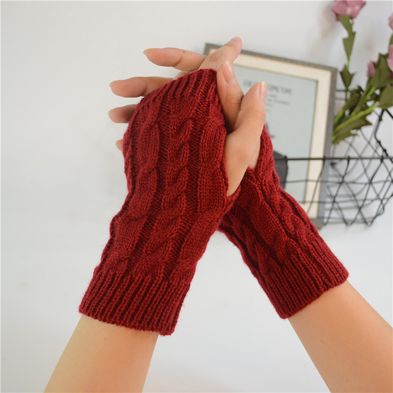 Women Crochet Knitting Cotton Gloves Warmer Winter Arm Gloves Stylish Hand Warm Fingerless Gloves Gants Femme