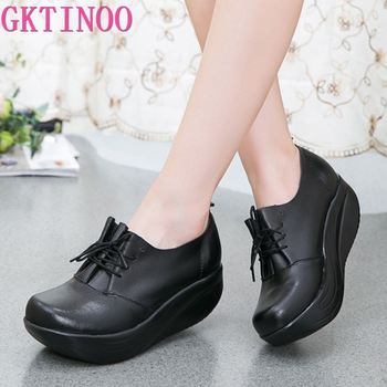 GKTINOO New Women's Genuine Leather Platform Shoes Wedges Black Lady Casual Swing Lace Up High Heels Shoe Plus Size 34-43 - discount item  33% OFF Women's Shoes