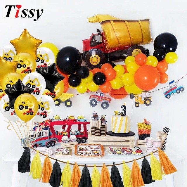 1Set Construction Tractor Theme Inflatable Balloons Truck Vehicle Banners Cake Decor Baby Shower Boys Birthday Party Supplies