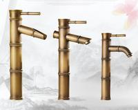 18 Type Antique Bathroom Sink Basin Faucet Retro Bamboo Style Single Hole Basin Faucet Vintage Brass