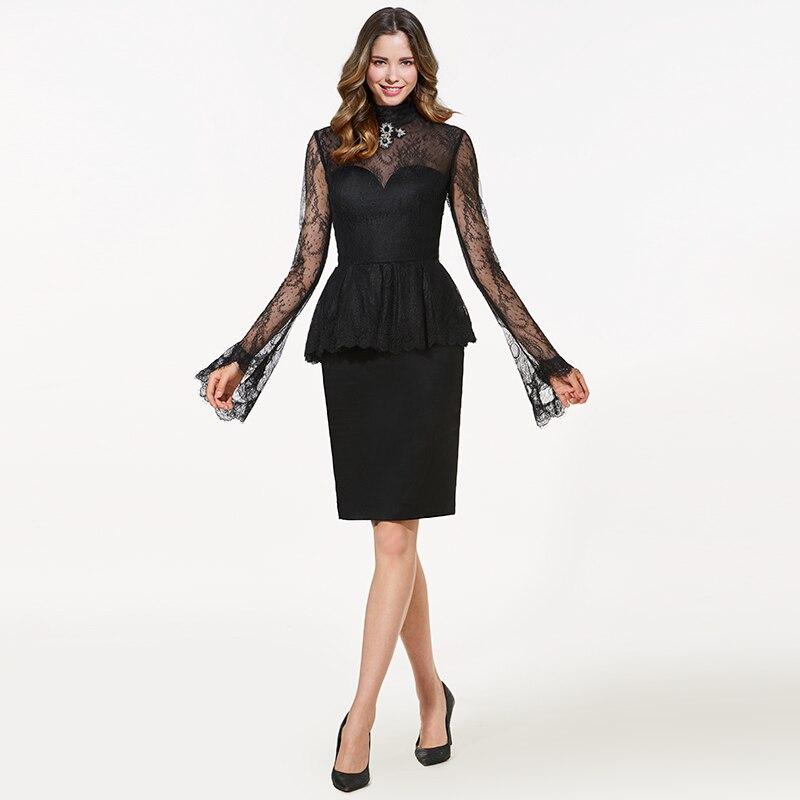 f8b62be071c0 Tanpell alto collo breve vestito da cocktail nero maniche lunghe di  lunghezza del ginocchio tubino partito del merletto delle donne customed  abiti da ...