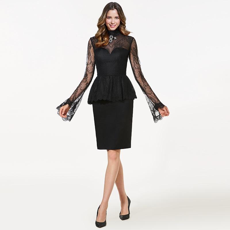 Tanpell High Neck Short Cocktail Dress Black Long Sleeves Knee